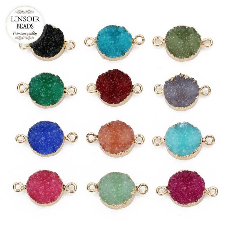 LINSOIR 5 יח'\חבילה עגול שרף אבן קסמי קוטר 13.5mm צבעוני Druzy קוורץ מחבר תליוני קסמי Diy תכשיטי ביצוע