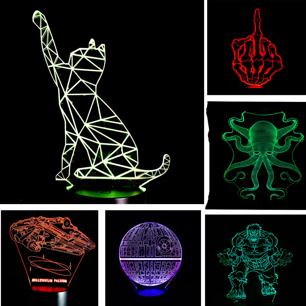 New Arrival Christmas New Year Gifts Fashion Atmosphere 3D Lamp Child Kid Bedroom LED Touch Remote Control Illusion Night Light