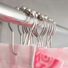Curtain-Rings Hooks Nickel-Ball Shower Rollerball Polished-Satin 12pcs/Set