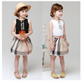fashion 2016 new summer kids baby girls clothes Girls plaid Dresses sleeveness children's causal cotton dress princess dress