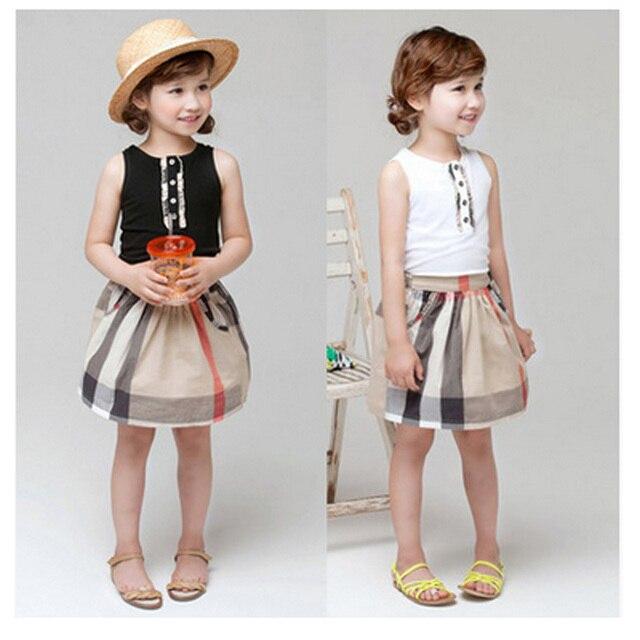 fashion 2016 new summer kids baby girls clothes Girls plaid Dresses sleeveness children's causal cotton dress princess dress