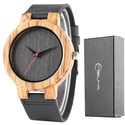 Prosty drewniany zegarek męski natura drewno bambusowe prawdziwej skóry dorywczo kobiet prosty zegarek męski zegarek sportowy Reloj świąteczny prezent