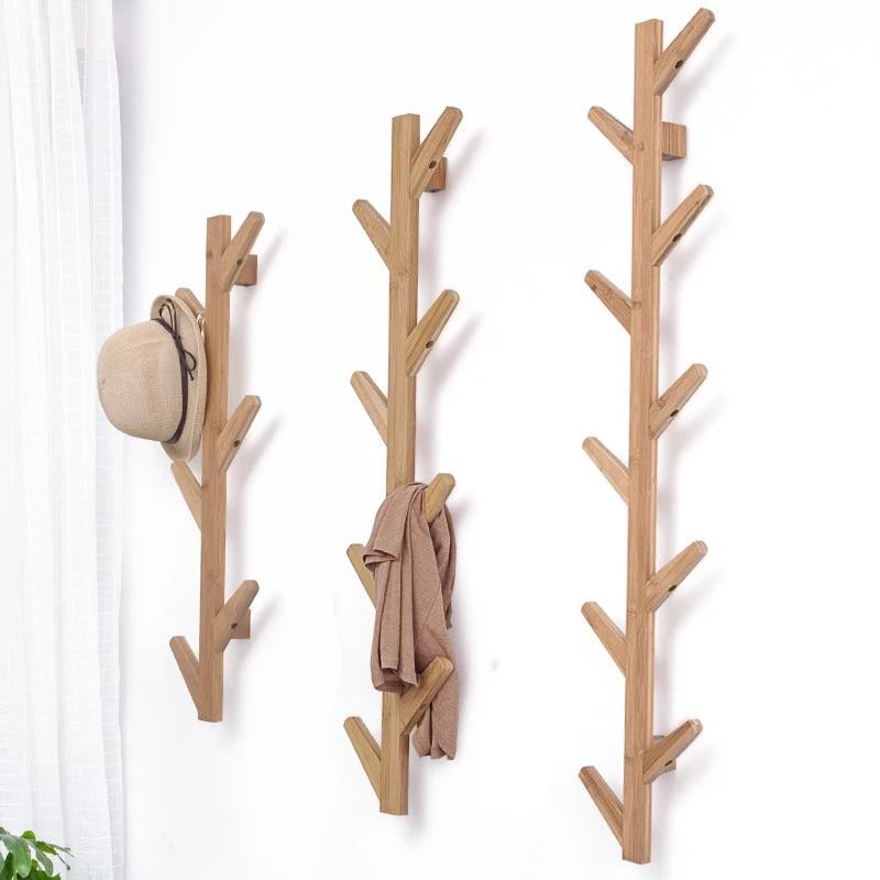 h 8 pcs creative tree hanging rack bamboo wall mounted hanger hall entrance decoration hat coat rack wall deco