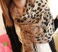 2016 nuevo estilo de alto grado gasa tamaño terciopelo leopardo punto grano venta al por mayor de la mujer bufanda de lana envío gratis
