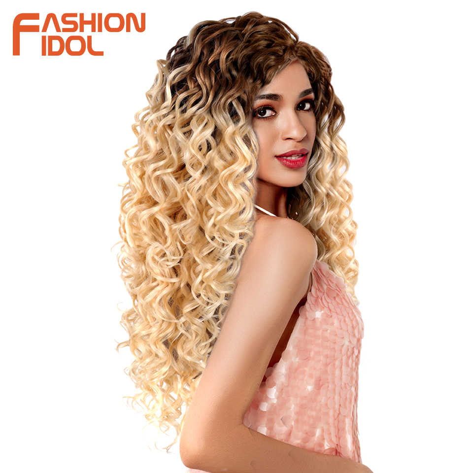 Мода IDOL глубокая волна пучки вьющиеся синтетические волосы для наращивания волна воды Омбре блонд 6 шт./упак. 24-28 дюймов пучки волнистых волос