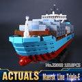 Nueva Serie Técnica El Maersk Lepin 22002 Genuino Barco de Contenedores de Carga Conjunto de 10241 Bloques de Construcción Ladrillos de Juguetes Educativos