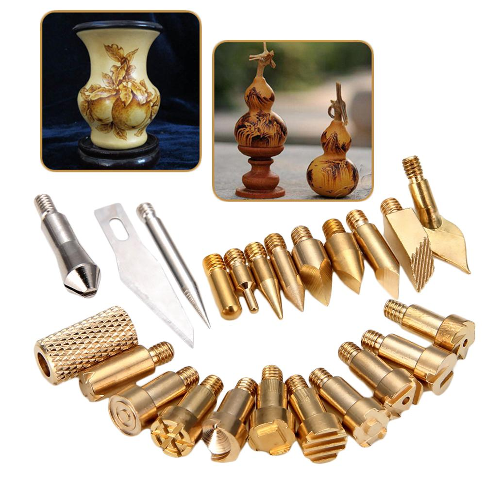 23pcs Carving Tool Carving Iron Head Hot Flower Tip Engraving Accessories Portraying Knife Head Kit For Wood Burning Pen