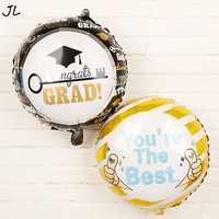 50pcs 12inch Graduation Balloons Round Doctor Aluminum Foil Ballon Birthday Party Celebration To School Decor New 2019 Baloon