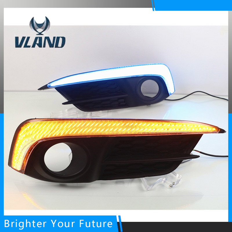 Front LED Driving Daytime Running Light for Honda Civic 10th 2016 2017 with yellow turn Fog Lamp DRL neo chrome rear lower control arm lca for honda civic 2001 2005 e2c