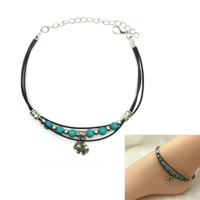2017 Beach Jewelry Tibetan Elephant Pendant Green Beads Anklet Foot Leather Chain Ankle Bracelet