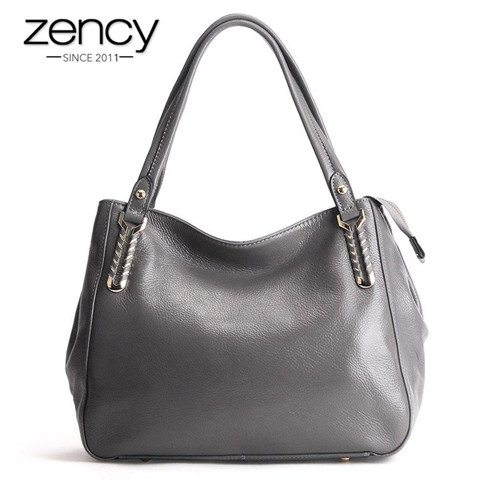 Zency 100% جلد طبيعي جودة A + النساء حقيبة كتف حقيبة يد الموضة حقيبة يد كاجوال للسيدات الأفاق الإناث Crossbody رسول محفظة-في حقائب الكتف من حقائب وأمتعة على  مجموعة 1