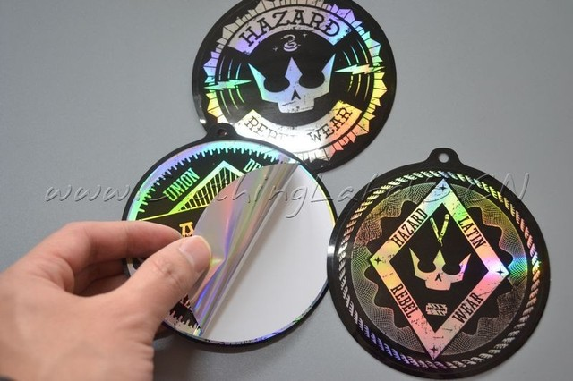 Custom hologram printed sticker reflection effect use in different way as hang tag or
