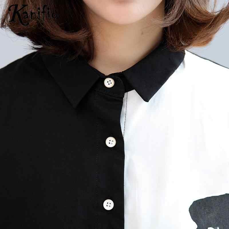 Kanifio бренд Плюс Размер Женская одежда женские Лоскутные Топы Рубашки женские повседневные свободные черные белые сетчатая блузка длинная туника Blusa