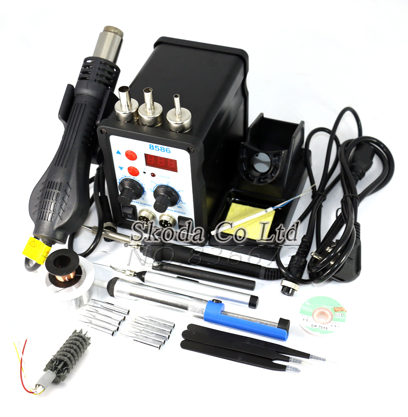 8586 Multifunction Hot Air Rework Station Soldering Station Welding Accessories Digital Display 110 220V 700W For