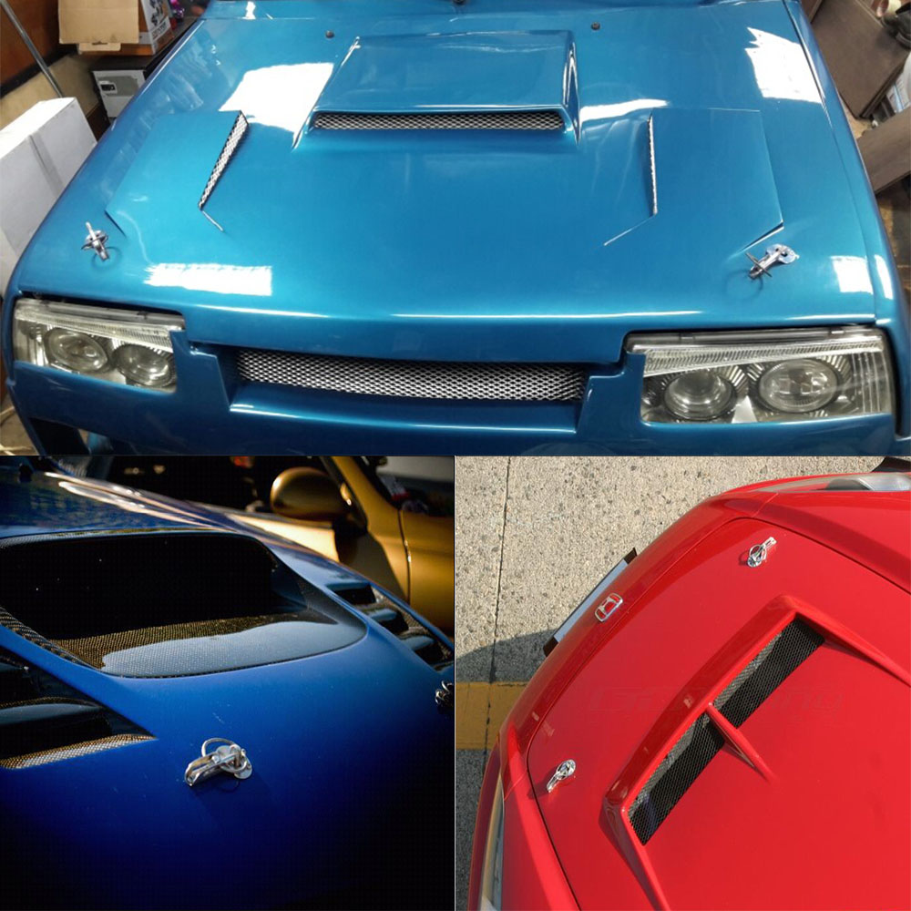 Universal Blue Alloy Mount Bonnet Flip Over Hood Latch Pin Locking Kit For Car