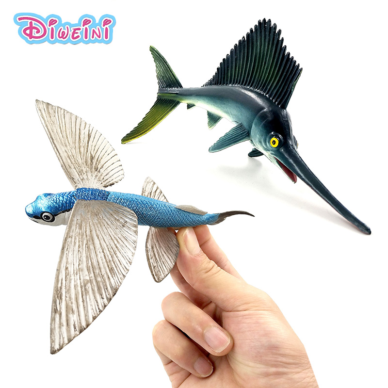 Simulation Flying Fish Small Sailfish Swordfish Animal Model Figure Figurine Home Decoration Accessories Decor Gift For Kids Toy