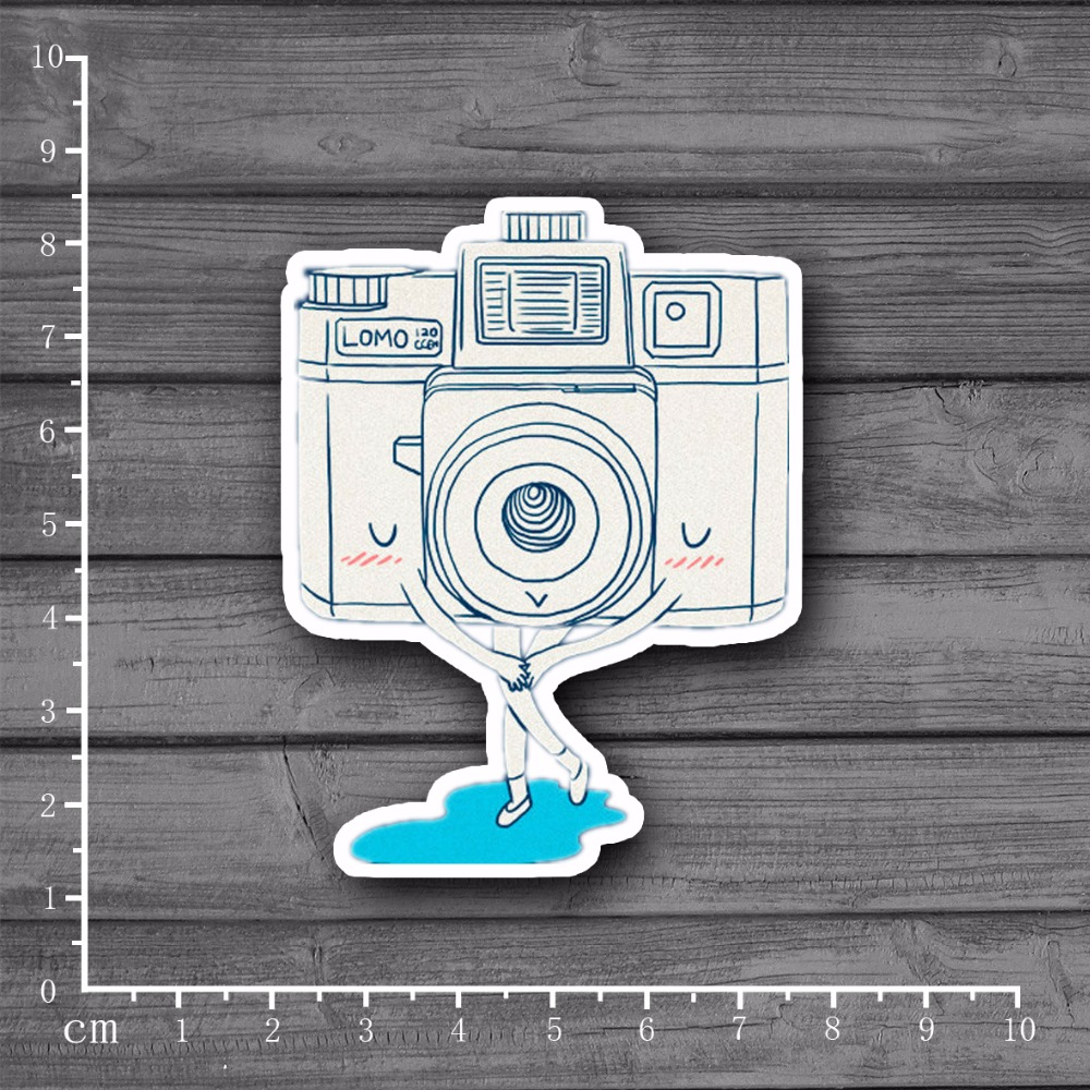 Kids Toys Exclusive Shy Camera On Notebook Scrapbooking Stationery Laptop Stickers Snowboard Luggage Fridge Home Decor[Single]