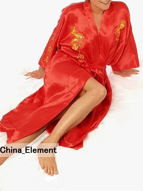 Fashion Red Chinese Womens Silk Satin Robe Embroidery Kimono Bath Gown Dragon S M L XL XXL XXXL S0010