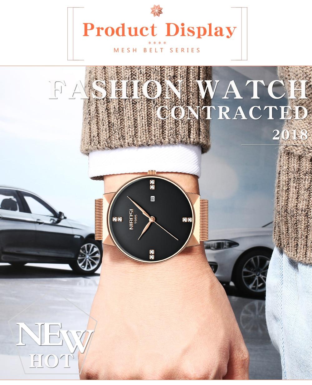 NIBOSI 2018 New Fashion Simple Watch Slim Mesh Band Mens Dress Watches Top Brand Luxury Male Relogio Masculino Quartz Wristwatch (10)