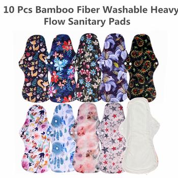 [Simfamily] 10 sztuk wielokrotnego użytku podkładki organiczne włókna bambusowe podpaski podpaski lady materiałowe podpaski zmywalne majtki zdrowie kobiece tanie i dobre opinie 1000 bamboo fiber 1 layer bamboo charcoal fiber 2 layers microfiber layer 1 layer Waterproof printed PUL 1Pc Heavy Flow