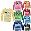 Venda quente 2-6 T Crianças Mickey Camisetas kawaii Longo manga O Pescoço Crianças Roupas Das Meninas Dos Meninos Unisex T-shirt 100% algodão Tshirt Criança