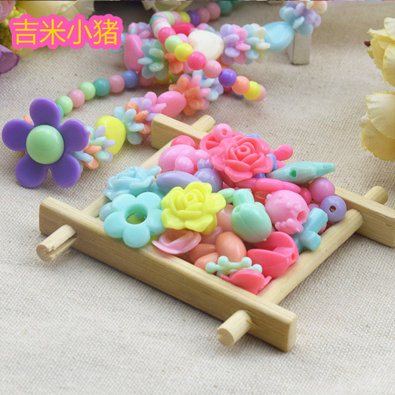 Acrylic Beads Toys For Children Girl Gift Waving Necklace Lacing Toy DIY Bracelet Handmade Round Square Bead For Kids Wholesale