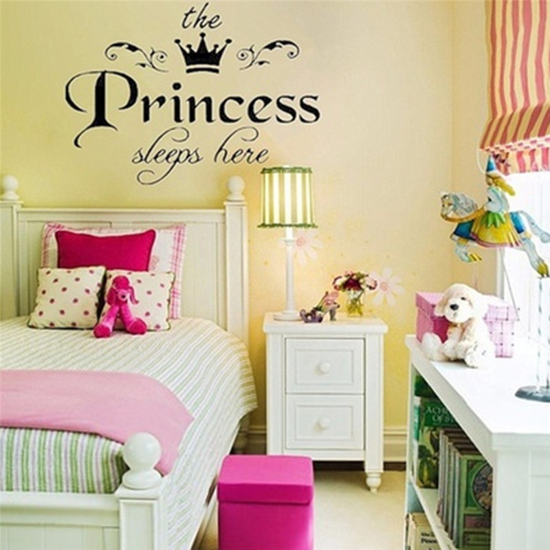 1Pcs Removable Wall Art Stickers Lovely Princess Sleeps Here Modern ...