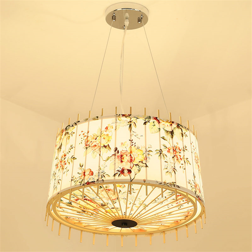 Japanese Tatami Wooden LED Chandelier Fabric Lamp Hade