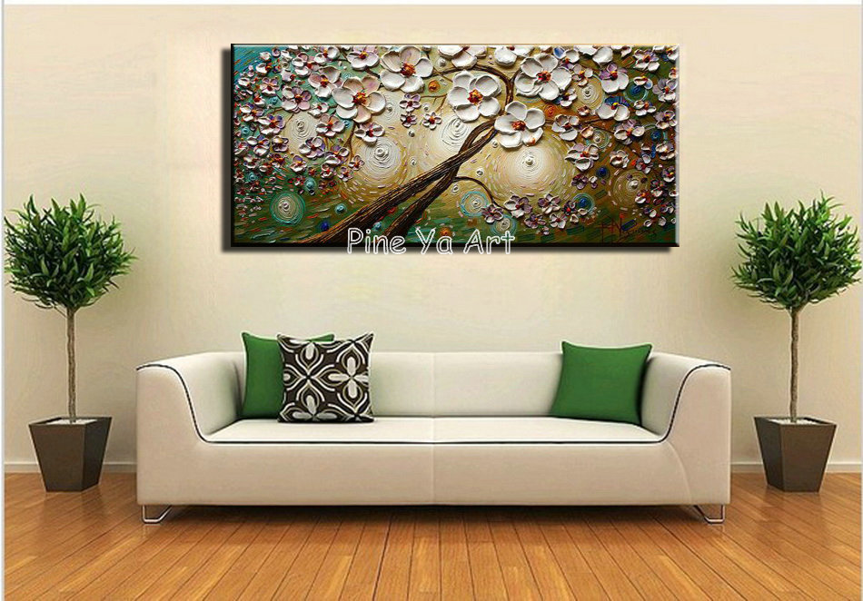 Big Piece Abstract Modern Canvas Wall Art White Handpainted Textured Flower  Tree Oil Painting Canvas For Living Room Decoration In Painting U0026  Calligraphy ... Part 17