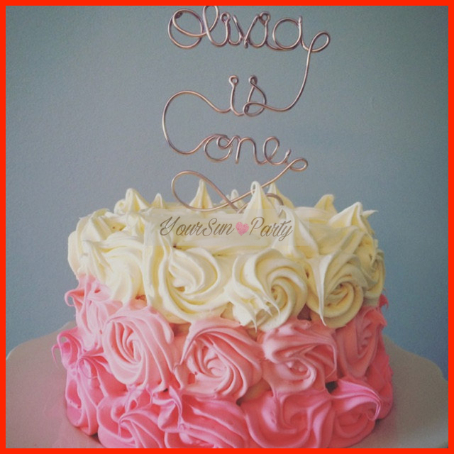 Free Shipping Monogram Initial Name Baby Birthday Cake Toppers