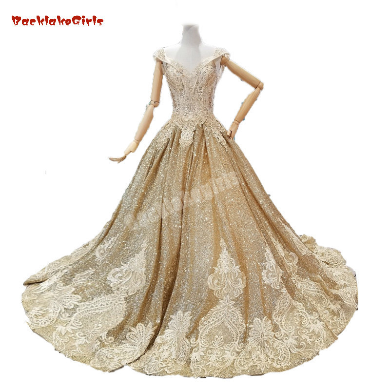 Gold Prom Dress Crystals Long Luxurious Styles Custom Made