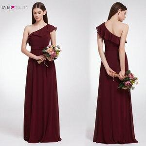 Image 2 - Ever Pretty элегантные сексуальные Длинные Бордовые Платья для подружки невесты, шифоновое платье с v образным вырезом и открытой спиной для свадебной вечеринки, платье подружки невесты