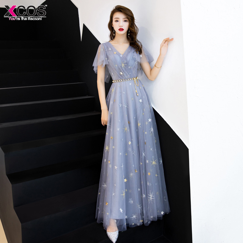 Sexy V-Neck   Prom     Dresses   2019 Backless Blue Grey Party Gown Ladies Bandage Embroidery Gold Star Vestido De Festa