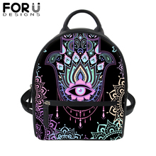 FORUDESIGNS Fatima Hamsa Hand PU Leather Backpack for Women Evil Eye 3D Print Black School Bag Girls Travel Waterproof Daypack