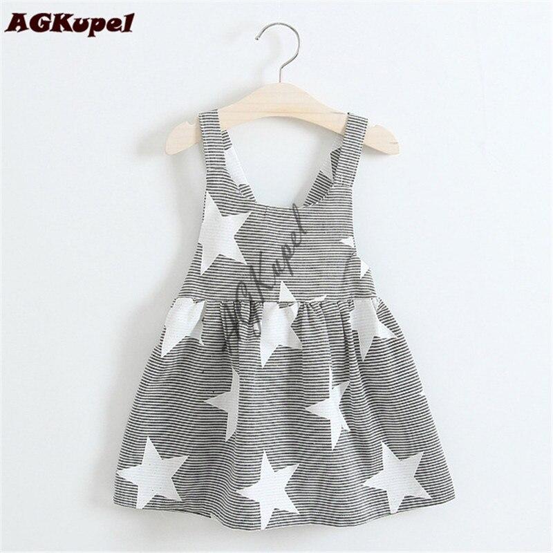 AGKupel Star Baby Girls Dress 2018 Summer Cotton Baby Girl Clothes Kids Stripe Princess Children Dress Backless Girl Dresses матрас универсальный в коляску esspero baby cotton star 108068286