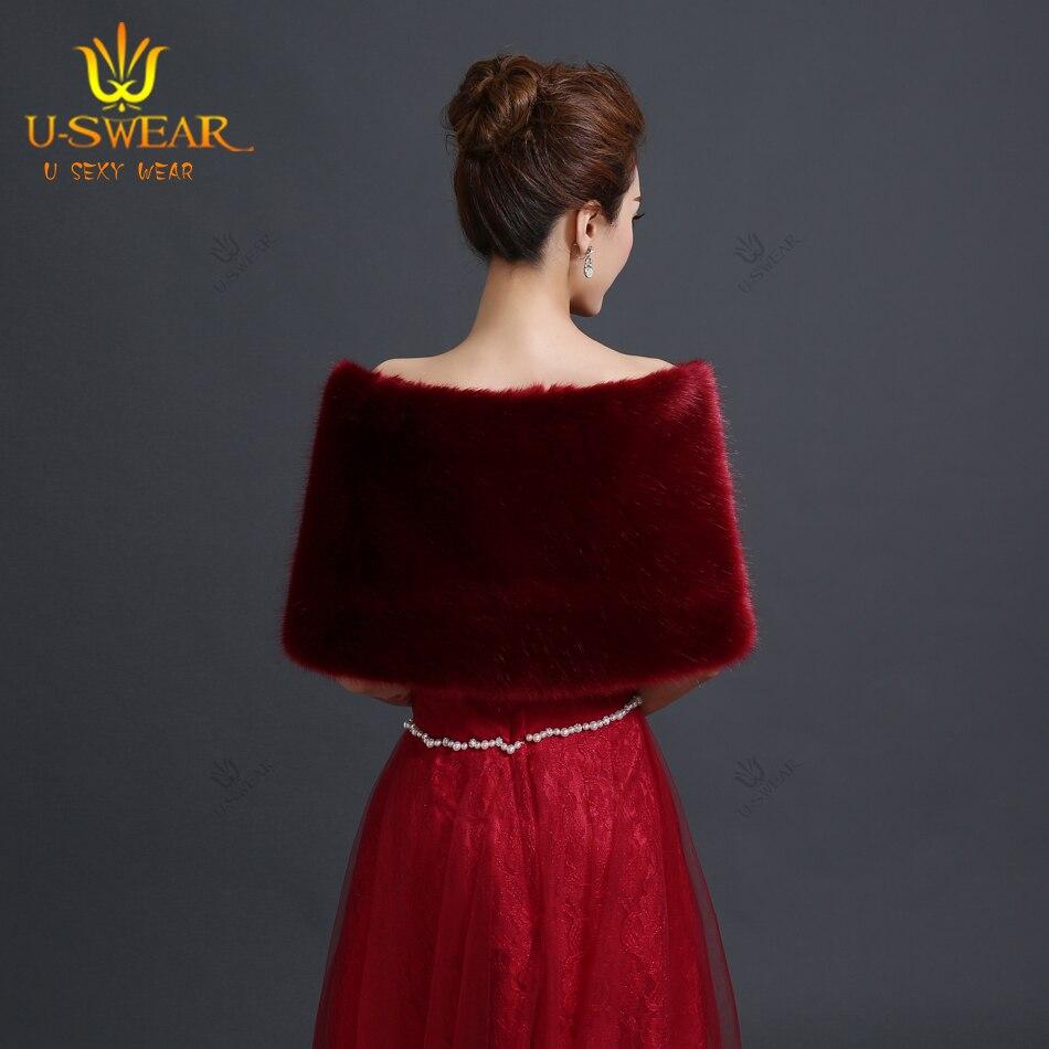 Bolero Rouge Mariage dedans de mariée de luxe vestes de fourrure bordeaux bolero mariage wrap