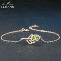 LAMOON Women Leaf Charm Bracelet Rose Gold Plated Chain Bracelet Lady Wedding Statement 925 Sterling Silver Fine Jewelry LMHI030