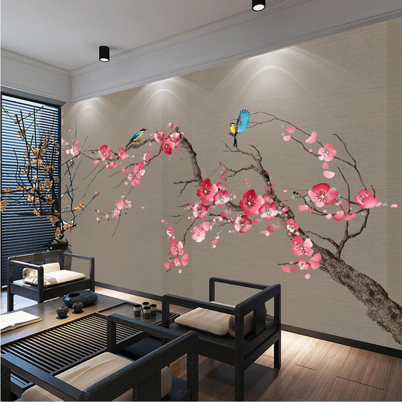 Customize 3D Photo Wallpaper Chinese style Plum blossom Murals Wall Paper For Sofa Background Living Room Study Room Mural Decor custom nature wall murals hand painted whale wall paper for kids room photo wallpaper for kids background for living room study