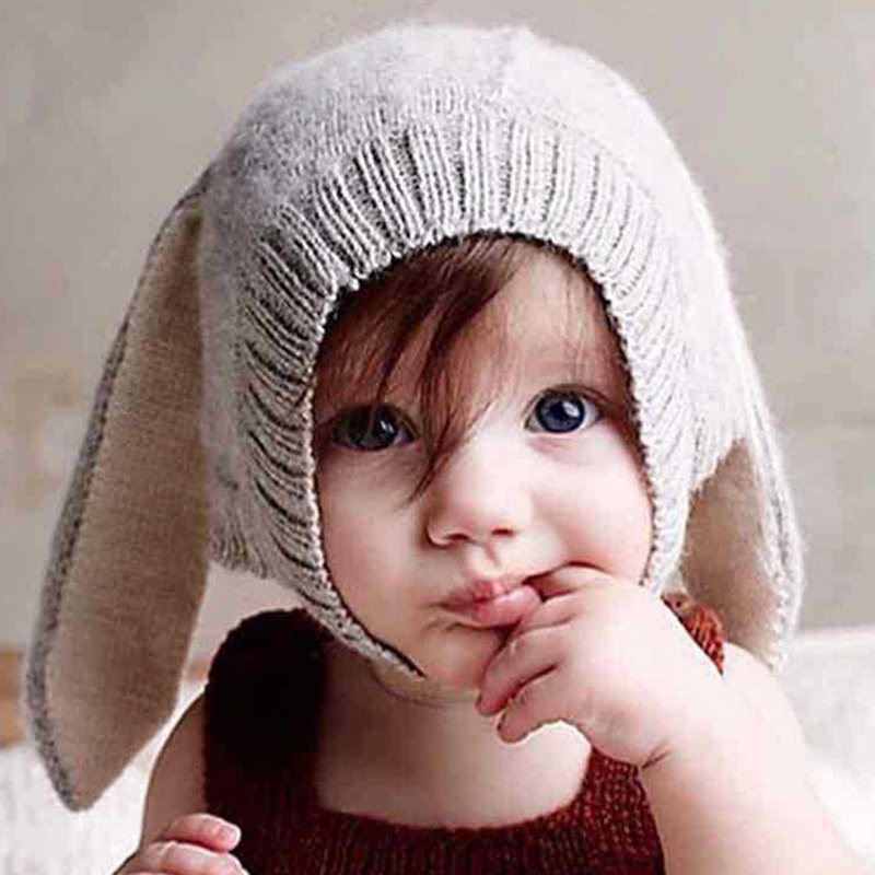 Autumn Winter Wool Knitted Warm Hat for Children Kids Animal Rabbit Ears Cute Cap Creative Hat Beanie Skullies for Boys Girls 8z princess hat skullies new winter warm hat wool leather hat rabbit hair hat fashion cap fpc018