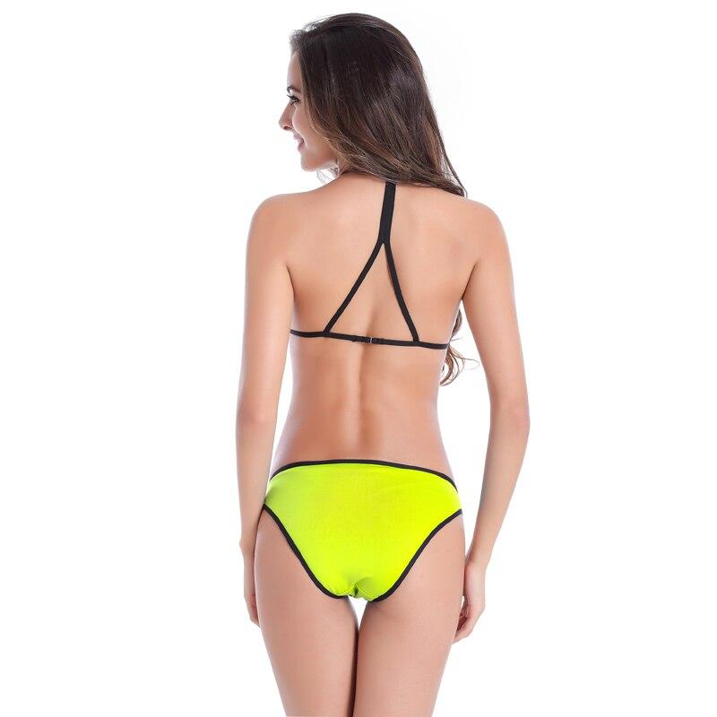 Mayo Yüksək Bel Yay Seksual Patchwork Bikini Qara Edge bikini - İdman geyimləri və aksesuarları - Fotoqrafiya 4