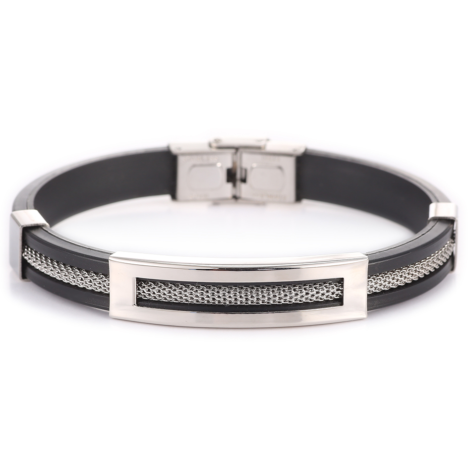 Leather Metal Cuff Stainless Steel Bangles for Men