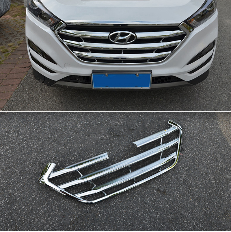 MONTFORD ABS Chrome Front Center Racing Grille Decoration Cover Trim Sticker Car Accessories For Hyundai Tucson 2015 2016 2017