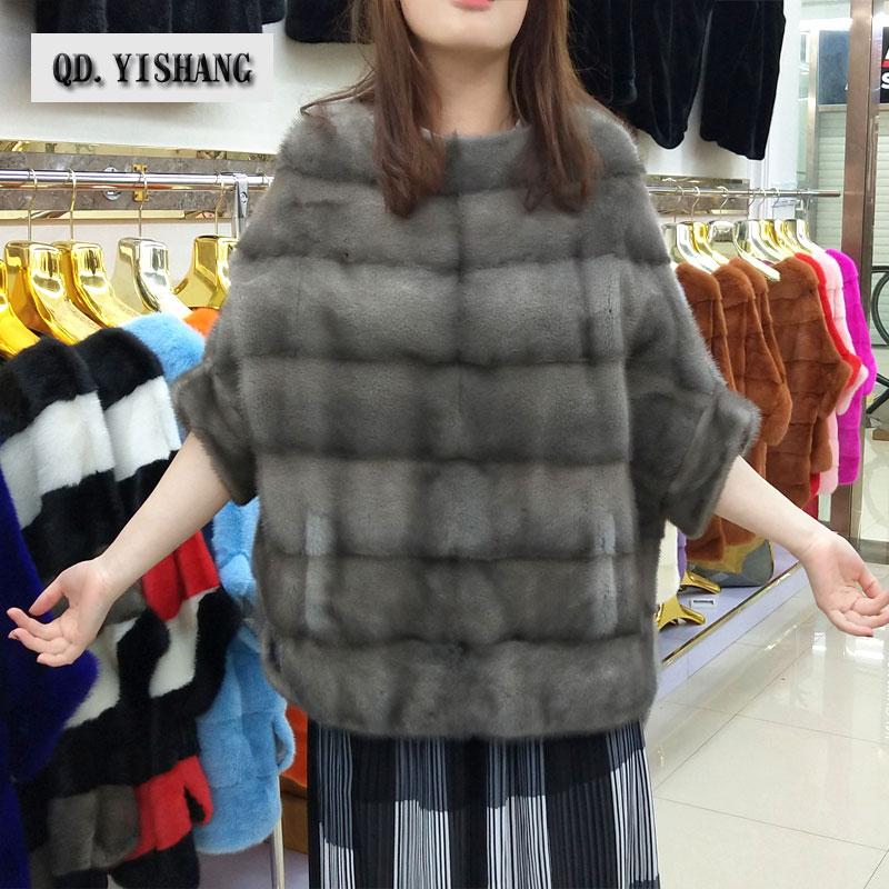 Piel natural verdadera del visión de las nuevas mujeres camisa del palo capa Otoño e Invierno popular corto abrigo de piel de visón QD. YISHANG