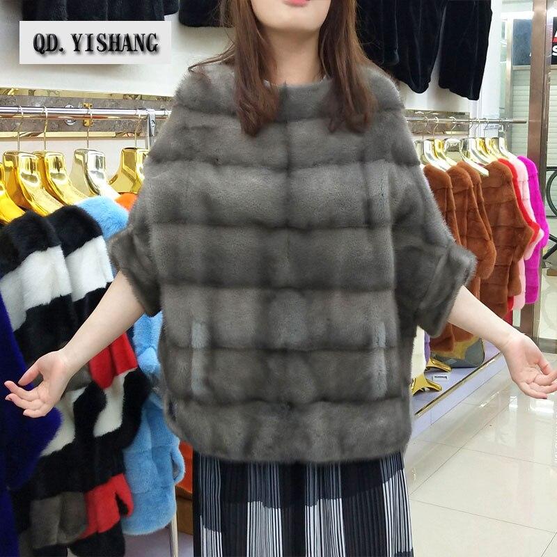 Réel naturel de fourrure de vison nouvelle mode femmes veste de chauve-souris chemise manteau automne et d'hiver court populaire de fourrure de vison manteau QD. YISHANG