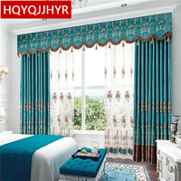 European Style Top Luxury Velvet Embroidered Curtains For Living Room High End Custom Classic Blue Villa