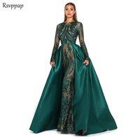 Длинное вечернее платье 2019, с длинным рукавом, Русалочка, кружево, Саудовской Аравии, изумрудно зеленый цвет, женское вечернее платье с отст