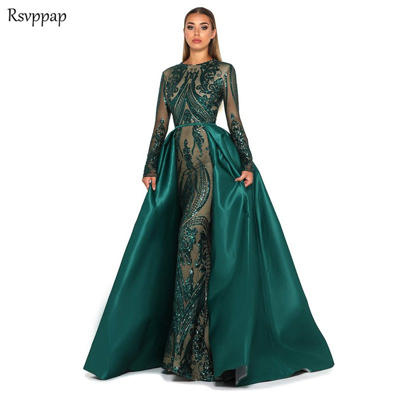 Long Evening Dress 2019 Long Sleeve Mermaid Lace Saudi Arabian Emerald Green Women Formal Evening Gown With Detachable Train
