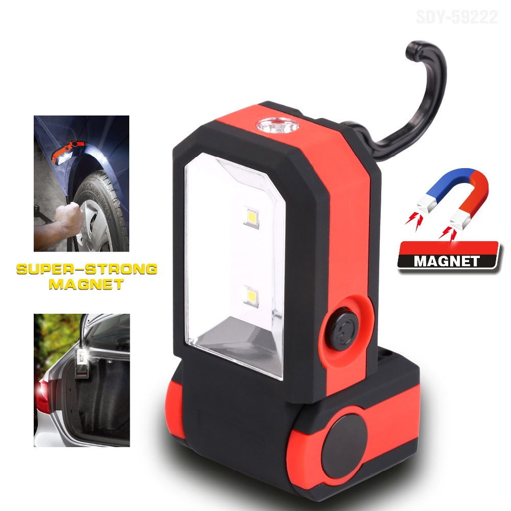 LED Work Light Flashlight Fold Hanging Hook Hands free Car Repair With Magnet led hook light magnetic flashlight perfect torch work lamp with magnet and 2 light modes camping outdoor sport drop clh