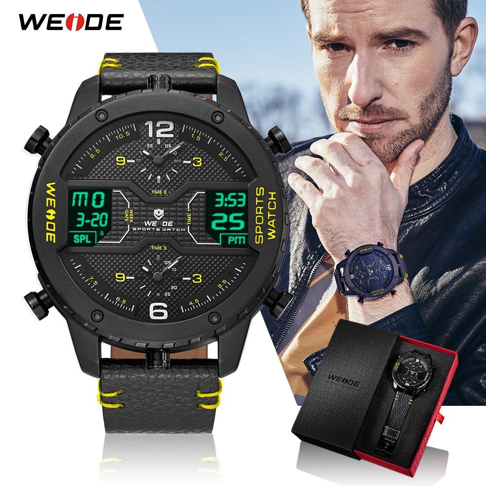 WEIDE Men Sports Top Luxury Brand Military Analog Digital Calendar Quartz Leather Strap Water Resistant Wristwatches Clock 2018 все цены
