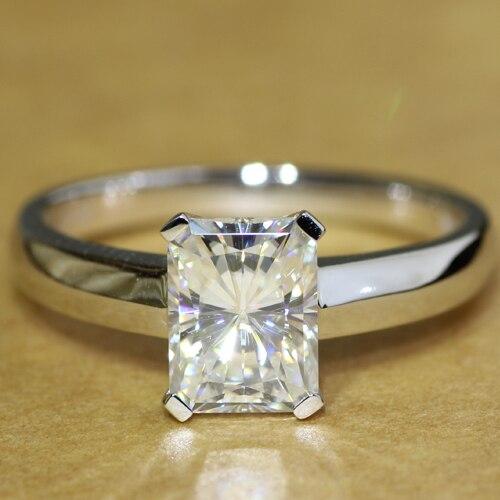 Luxury Quality 1.8 Carat Radiant Cut Engagement Wedding Lab Grown Moissanite Diamond Ring For Women Genuine 14kt 585 White Gold